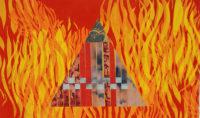 Fire, fiber art by Joanne Weis