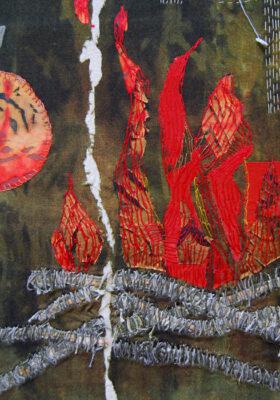 mixed media fiber art by Joanne Weis